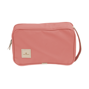 Small Travel Kit - Coral Coated Canvas Front Angle in Color 'Coral Coated Canvas'