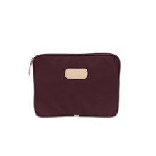 "Load image into Gallery viewer, Quality made in America durable coated canvas 13"" computer case with  natural leather patch to personalize with initials or monogram"