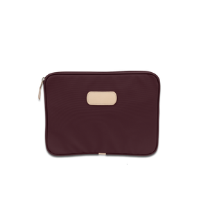"Quality made in America durable coated canvas 13"" computer case with  natural leather patch to personalize with initials or monogram"