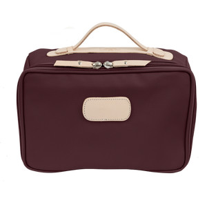 Large Travel Kit - Burgundy Coated Canvas Front Angle in Color 'Burgundy Coated Canvas'