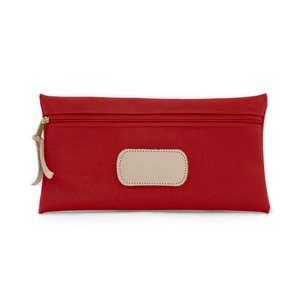 Large Pouch - Red Coated Canvas Front Angle in Color 'Red Coated Canvas'