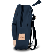 Load image into Gallery viewer, Mini Backpack - Navy Coated Canvas Front Angle in Color 'Navy Coated Canvas'