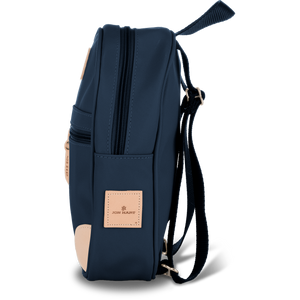 Mini Backpack - Navy Coated Canvas Front Angle in Color 'Navy Coated Canvas'