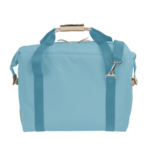 Large Cooler - Ocean Blue Coated Canvas Front Angle in Color 'Ocean Blue Coated Canvas'