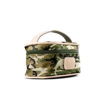Load image into Gallery viewer, Mini Makeup Case - Classic Camo Coated Canvas Front Angle in Color 'Classic Camo Coated Canvas'