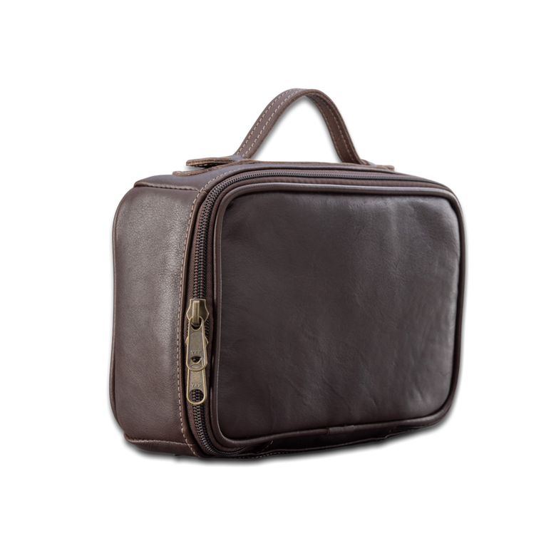 Quality made in America leather toiletry bag kit to personalize with initials or monogram