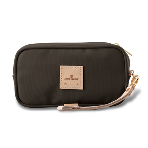 Wristlet - Espresso Coated Canvas Front Angle in Color 'Espresso Coated Canvas'