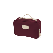 Load image into Gallery viewer, Large Travel Kit - Burgundy Coated Canvas Front Angle in Color 'Burgundy Coated Canvas'