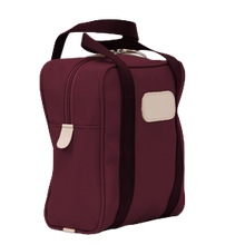 Load image into Gallery viewer, Shag Bag - Burgundy Coated Canvas Front Angle in Color 'Burgundy Coated Canvas'