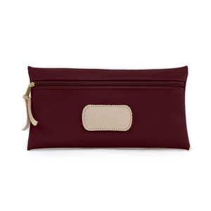 Large Pouch - Burgundy Coated Canvas Front Angle in Color 'Burgundy Coated Canvas'