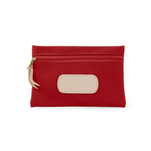 Pouch - Red Coated Canvas Front Angle in Color 'Red Coated Canvas'