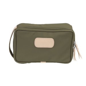 Small Travel Kit - Moss Coated Canvas Front Angle in Color 'Moss Coated Canvas'