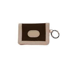 Load image into Gallery viewer, ID Wallet - Espresso Coated Canvas Front Angle in Color 'Espresso Coated Canvas'