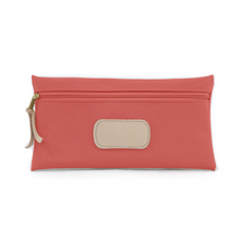 Load image into Gallery viewer, Large Pouch - Coral Coated Canvas Front Angle in Color 'Coral Coated Canvas'