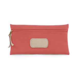 Large Pouch - Coral Coated Canvas Front Angle in Color 'Coral Coated Canvas'
