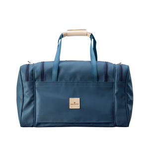 Medium Square Duffel - French Blue Coated Canvas Front Angle in Color 'French Blue Coated Canvas'