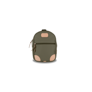 Mini Backpack - Moss Coated Canvas Front Angle in Color 'Moss Coated Canvas'