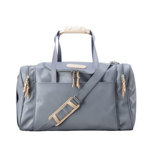 Medium Square Duffel - Slate Coated Canvas Front Angle in Color 'Slate Coated Canvas'