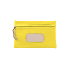 Load image into Gallery viewer, Pouch - Lemon Coated Canvas Front Angle in Color 'Lemon Coated Canvas'