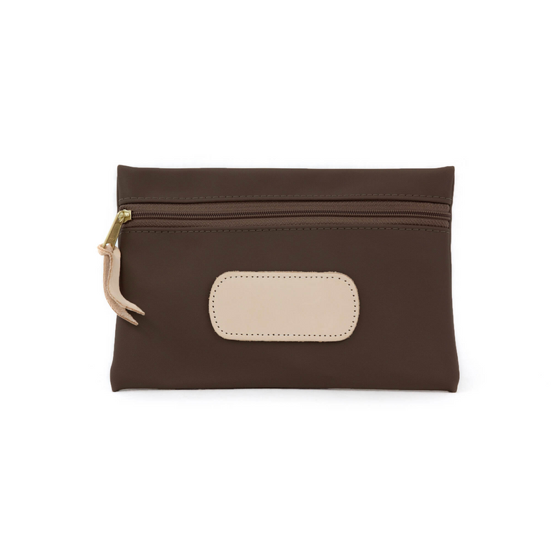 Pouch - Espresso Coated Canvas Front Angle in Color 'Espresso Coated Canvas'