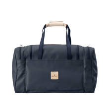 Load image into Gallery viewer, Medium Square Duffel - Navy Coated Canvas Front Angle in Color 'Navy Coated Canvas'