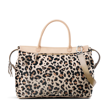 Load image into Gallery viewer, Burleson Bag - Leopard Coated Canvas Front Angle in Color 'Leopard Coated Canvas'