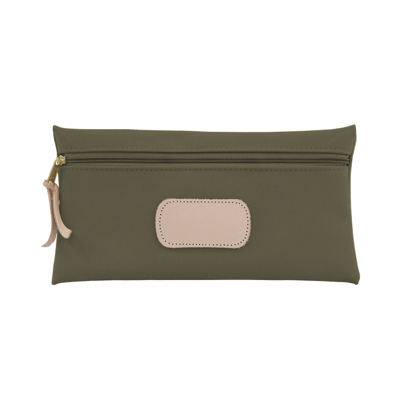 Large Pouch - Moss Coated Canvas Front Angle in Color 'Moss Coated Canvas'