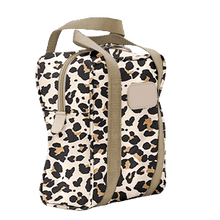 Load image into Gallery viewer, Shag Bag - Leopard Coated Canvas Front Angle in Color 'Leopard Coated Canvas'