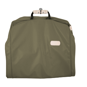 "50"" Garment Bag - Moss Coated Canvas Front Angle in Color 'Moss Coated Canvas'"