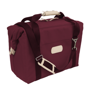 Large Cooler - Burgundy Coated Canvas Front Angle in Color 'Burgundy Coated Canvas'