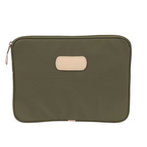 "13"" Computer Case - Moss Coated Canvas Front Angle in Color 'Moss Coated Canvas'"