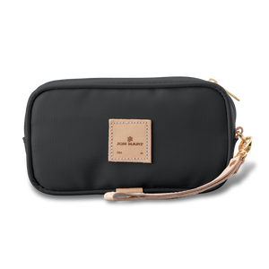 Wristlet - Charcoal Coated Canvas Front Angle in Color 'Charcoal Coated Canvas'