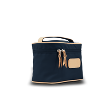 Load image into Gallery viewer, Makeup Case - Navy Coated Canvas Front Angle in Color 'Navy Coated Canvas'
