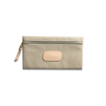 Load image into Gallery viewer, Quality made in America large rectangle pouch with leather patch to personalize with initials or monogram