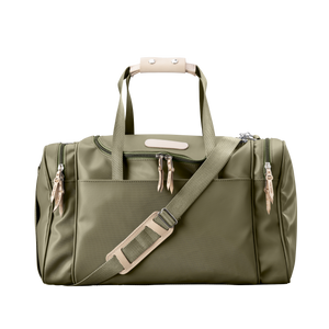 Medium Square Duffel - Moss Coated Canvas Front Angle in Color 'Moss Coated Canvas'