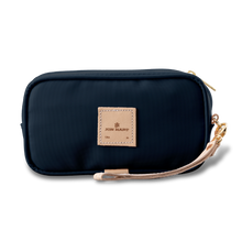 Load image into Gallery viewer, Wristlet - Navy Coated Canvas Front Angle in Color 'Navy Coated Canvas'