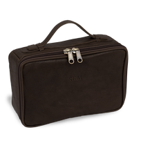 Load image into Gallery viewer, Leather Dopp Kit - Midnite Leather Front Angle in Color 'Midnite Leather'