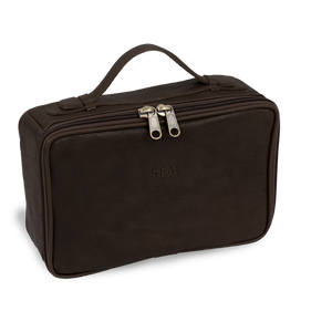 Leather Dopp Kit - Midnite Leather Front Angle in Color 'Midnite Leather'