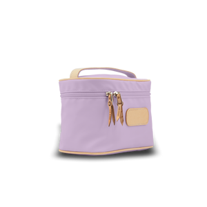 Makeup Case - Lilac Coated Canvas Front Angle in Color 'Lilac Coated Canvas'