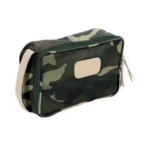 Small Travel Kit - Classic Camo Coated Canvas Front Angle in Color 'Classic Camo Coated Canvas'