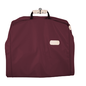 "50"" Garment Bag - Burgundy Coated Canvas Front Angle in Color 'Burgundy Coated Canvas'"