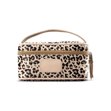 Load image into Gallery viewer, Mini Makeup Case - Leopard Coated Canvas Front Angle in Color 'Leopard Coated Canvas'