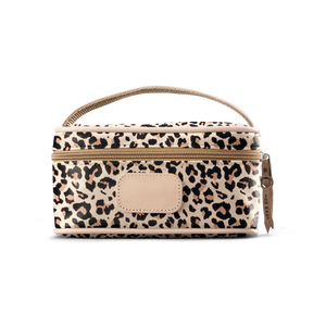 Mini Makeup Case - Leopard Coated Canvas Front Angle in Color 'Leopard Coated Canvas'