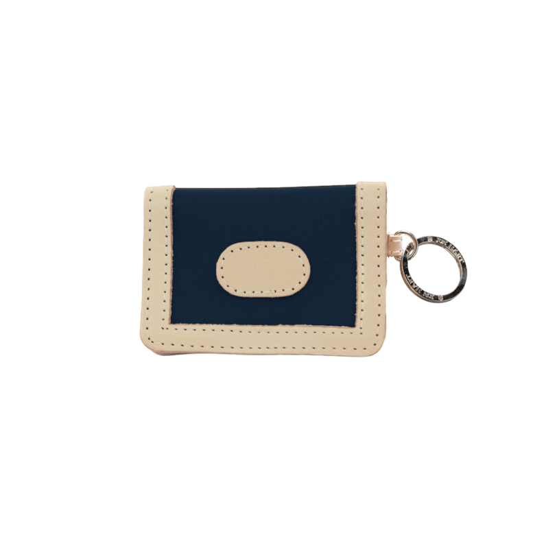 ID Wallet - Navy Coated Canvas Front Angle in Color 'Navy Coated Canvas'