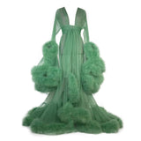 Women's Feather Edge Tulle Illusion Long Bridal Robe
