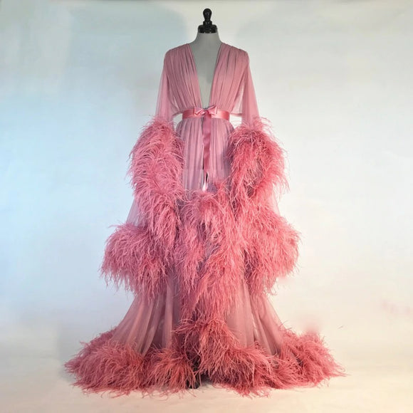 Bathrobe for Women Pink Feather Full Length Nightgown