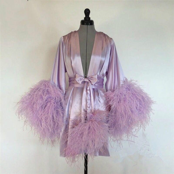 Short Bathrobe for Women Pink Feather