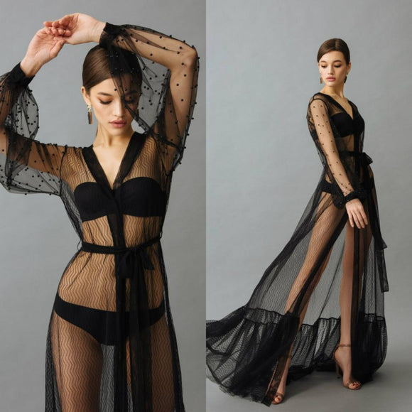 See Through Black Night Robe with Beads Sexy Long Nightgown