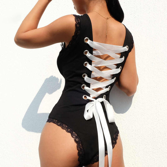 Sexy Bandage Back Hollow Out Bodysuit