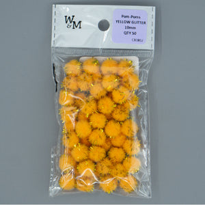 Pom Poms - 10mm Yellow Glitter